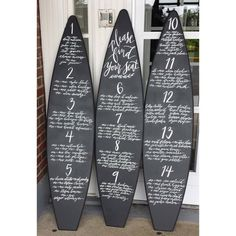 set of 3 chalk chalkboard surf surfboard sign menu guest autograph list sign in board pool beach club logo party wedding birthday decoration by SurfboardBeachArt on Etsy Custom Wood, Custom Paint, Surfboard Decor, Party List, Toy Storage Boxes, Chalkboard Paint, Party Signs, Custom Boxes, Wall Signs