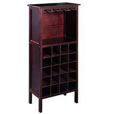 Burgundy Solid Wood 5 layers Wine Cabinet Bottle Holder Storage Bar w/ Glass Hangers Rack for Wine Lovers >>> Visit the image link more details. (It is Amazon affiliate link) #startup