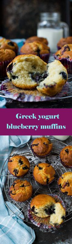 Greek yogurt blueberry muffins - a light, airy and delicious low sugar, low calorie recipe!