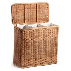 3-Compartment Wicker Laundry Hamper in Toasted Oat