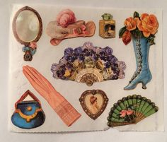 Vintage 1980's Gifted Line Victorian Lady Accessories Sticker #JohnGrossman