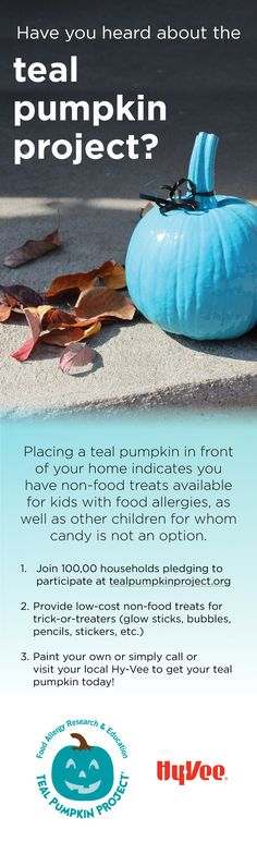 Placing a teal pumpkin on your front steps means you have non-foods available for kids with food allergies. #TealPumpkinProject