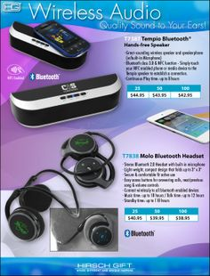 Bluetooth Audio devices from your Tech Specialists! Focusing on quality, authentic sound. #BluetoothSpeakers #BluetoothHeadset #PromotionalProducts
