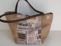 newspaper print  handbagbeige shoulder bag by LIGONaccessories, $69.00