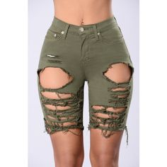 Gone Fishing Shorts - Olive Ripped Bermuda Shorts, Distressed Bermuda Shorts, Ripped Shorts, Camo Shorts, Cotton Shorts, Ripped Denim, Jean Shorts, Summer Shorts Outfits, Short Outfits
