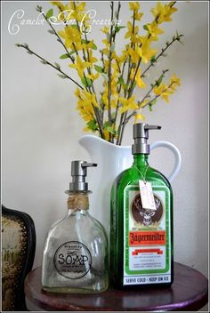 How To Upcycle Old Liquor Bottles | Easy DIY Home Decor Projects For Your Kitchen Or Bathroom By DIY Ready.http://diyready.com/10-brilliant-ways-repurpose-old-items/.