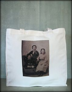 Tintype Tote  Three Young Girls by ScarlettSlipper on Etsy
