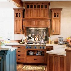 Popular in the early 20th century, this style dispensed with curvy Victorian-era millwork profiles in favor of rectilinear angles, typically crafted in fine wood. Shown: Custom Arts & Crafts Designer Series in quartersawn white oak; available from Crown Point Cabinetry. | Photo: courtesy of Crown Point Cabinetry | thisoldhouse.com