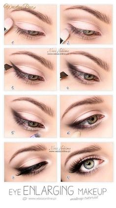 Eye Enlarging makeup- simply put smudged eyeliner or shadow in the outer corner of eyes. Then, apply white eyeliner in your waterline. Lastly, put white eyeshadow or hilighter in the inner corner of your eyes. Pretty Makeup, Love Makeup, Gorgeous Makeup, Simple Makeup, Perfect Makeup, Makeup For Black Dress, Basic Eye Makeup, Light Eye Makeup, Classy Makeup
