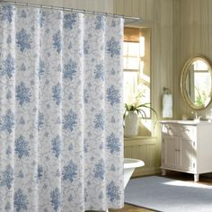 9b783dfecef Blue French Floral Shabby Chic Shower Curtains Sets For Bathroom Intended  For Light Gray Shower Curtain