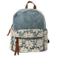 Denim Flower Crochet Backpack