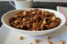 Chocolate Peanut Butter Oatmeal - Rich chocolate and creamy peanut butter mixed into healthy oats. It's like eating a big healthy cookie for breakfast.