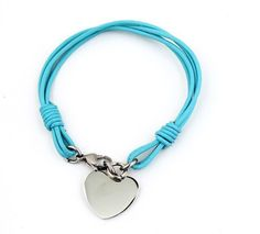 Ocean Blue Leather Bracelets with Silver Stainless Steel Heart Charm 7.48