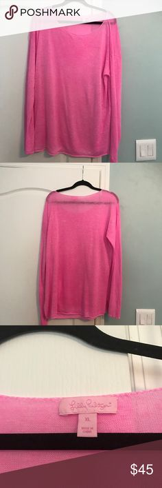 Lilly Pulitzer long sleeve pink sweater*XL GUC Lilly Pulitzer long sleeve thin linen-like material pink sweater*** size XL*** As/Is:slightly faded🎀 Lilly Pulitzer Sweaters