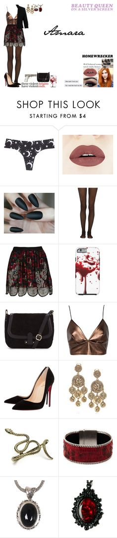 """""""Amara"""" by jessisobsessed ❤ liked on Polyvore featuring Wet Seal, castro, Romeo + Juliet Couture, Fogal, River Island, Boohoo, Christian Louboutin, Oscar de la Renta, Aech Cheli and NOVICA"""