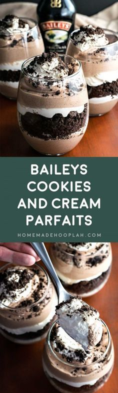 Baileys Cookies and Cream Parfaits! Layered chocolate and Baileys cream paired with crumbled Oreo cookies. These Baileys Cookies and Cream Parfaits are the perfect weekend retreat! | HomemadeHooplah.com