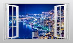 Monaco (Monte Carlo) at night 3D Window Scape Graphic Art Mural Wall Sticker