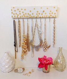 Gold Polka Dot White Jewelry Hanger / Accessory Organizer with Hooks / Confetti Print on Etsy, $18.00