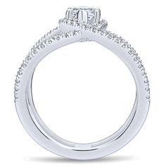 Gabriel - Aurora 14k White Gold Marquise  Halo Engagement Ring