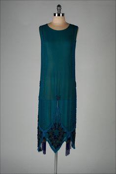 vintage 1920s dress . deep aqua silk crepe . by millstreetvintage, $645.00