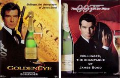 GoldenEye and Tomorrow Never Dies Bollinger advertisements - let op de bollinger champagne