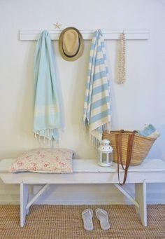 beachcomber: beach house upcycled towel rack diy