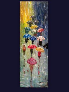 Original Painting Umbrellas - Acrylic Rain Painting - Blue Red Orange - Abstract Landscape - Large Size. $175.00, via Etsy.