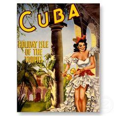 Het Eiland van de Vakantie van Cuba van de Vintage Wenskaarten door TheEclecticImage