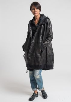 Rundholz Dip Oversize Leather Coat in Black