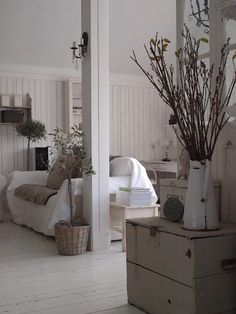 pretty room, but I especially like the old painted box