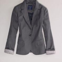AE Boyfriend Blazer ($35) ❤ liked on Polyvore featuring outerwear, jackets, blazers, grey, boyfriend jacket, gray jacket, oversized boyfriend blazer, oversized jacket and flap jacket