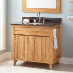 """The 36"""" Antioch Teak Vanity has a versatile look that can be used in casual or sophisticated settings.   36"""" Antioch Teak Vanity for Rectangular Undermount Sink In Natural Teak   Signature Hardware"""