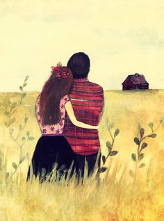 couples gift, anniversary gifts for couple, anniversary gifts for parents, couple artwork, Lovers in the field Love Cartoon Couple, Cute Love Cartoons, Claudia Tremblay, Art Amour, Cute Couple Drawings, Couple Drawing Images, Cute Love Wallpapers, Animated Love Images, Cute Couple Art
