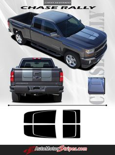 2016 Chevy Silverado 1500 Chase Rally Edition Style Truck Hood Racing Vinyl Graphics 3M Stripes Kit