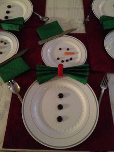 Happy snowman table setting