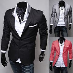 Wholesale Men's Fashion Casual Solid Color Pocket Obedient Cloth Design Suit - 27$ More Fashion at www.thedillonmall.com Free Pinterest E-Book Be a Master Pinner http://pinterestperfection.gr8.com/