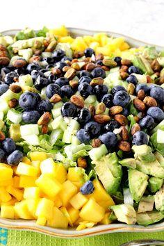 Mango, Avocado, Blueberries, Pistachios, Romaine Salad | Kudos Kitchen by Renee