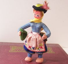 Vintage Doll Portugal Souvenir Maria Helena Hat with by funfinds