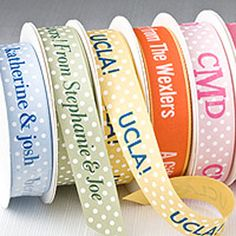 Personalized Textured Polka Dot Ribbon - 10 yds - Personalized Ribbons - Favor Packaging - Wedding Favors & Party Supplies - Favors and Flowers