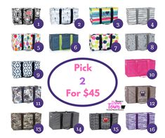 Get 2 large utility totes for Only $45!
