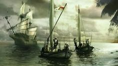 Spanish conquistadores disembarking from a Galleon in the New World