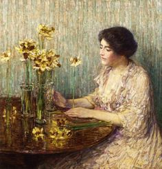 ⊰ Posing with Posies ⊱ paintings of women and flowers - Frederick Childe Hassam | Jonquils