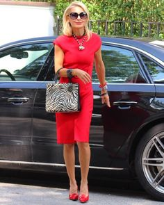 by bibi horst ( Red Skirt Outfits, Red Dress Outfit, Fall Outfits, 60 Fashion, Fashion Over 50, Fashion Outfits, Womens Fashion, Stylish Outfits For Women Over 50, Clothes For Women