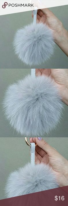 Fox Real Fur Pom LG (NWOT) Fox Real Fur Pom, Real Fox Fur, Fur Pom Pom SIZE: LARGE 5 inches Color: soft grey NWOT  For more pics, plus info about the Hermes Constance bag in other pictures, see posh-ky.blogspot.com  My fur poms are THE REAL DEAL. These are fox fur, NOT rabbit fur. They are soft and ultra luxurious.   Quality thick metal clip attachment ring. Silver hardware.  Durable strap. unbranded Accessories