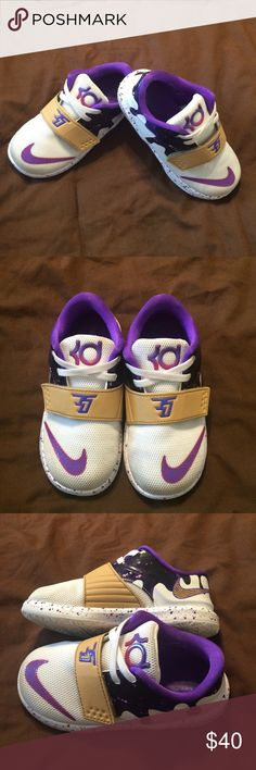 Nike KD size 8c Have your toddler stylin' in these EUC Nike KD's 💯 purple/white children's size 8c ✅ Nike Shoes Sneakers