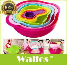 WALFOS Brand  set of 8pcs Measuring Tool Bowl Measuring cup spoons- kitchen Bowl set kitchen cooking tool-kitchen mixing bowl
