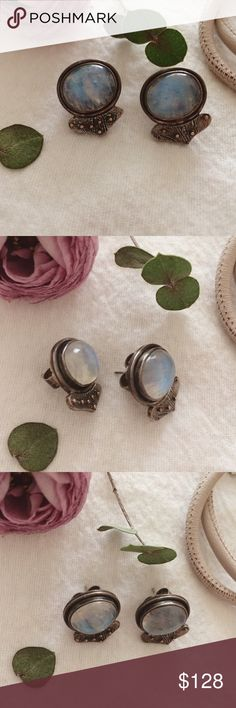 Ms. Moon Earrings. Beautiful large cabochon moonstone earrings. Silver and gold. These run on the bigger than medium side. They are a little heavy. Signed by designer on back and stamped for gold and silver.  It's stamped for the gold dots 14k yellow gold. Jewelry Earrings