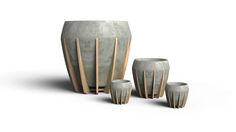 A Small Wood and Concrete Pot Called La Morena in home furnishings  Category