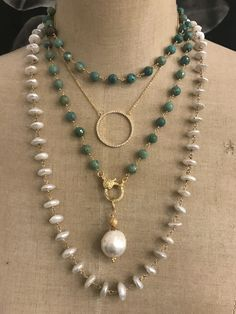 Turquoise and pearls. Lisajilljewelry@gmail.com