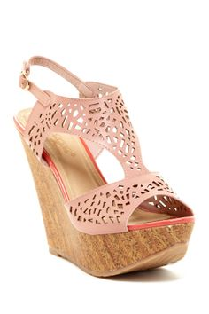 Laser Cut Wedge Sandal